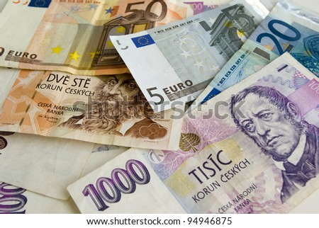 Czech currency or Euro? - stock photo