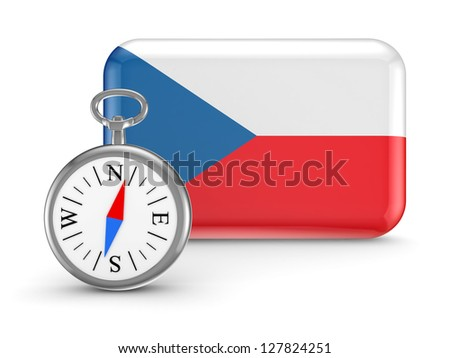 Czech flag.Isolated on white background.3d rendered. - stock photo