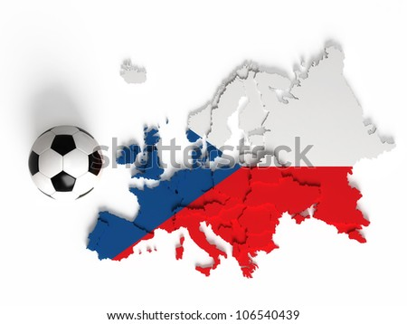 Czech flag on European map with national borders, isolated on white background - stock photo
