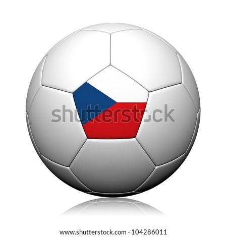 Czech Flag Pattern 3d rendering of a soccer ball