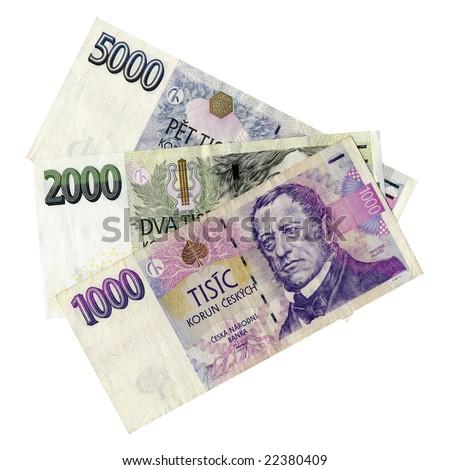 Czech korunas CZK banknotes money european currency - stock photo