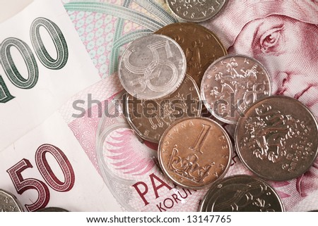 Czech money (banknotes and coins) - stock photo