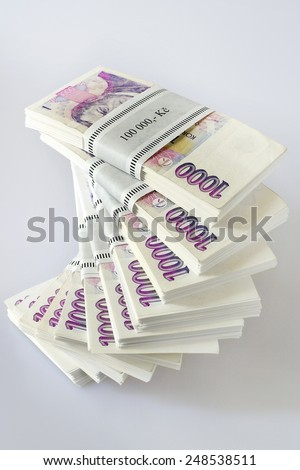 Czech money - banknotes in a pile  -  economy and finance