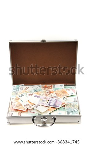 czech money in the aluminum suitcase isolated on the white background