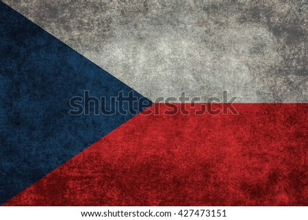 Czech national flag with a vintage textured treatment - stock photo