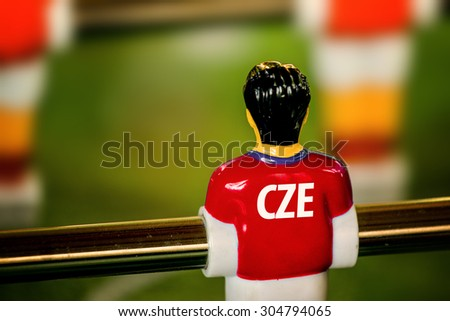 Czech National Jersey on Vintage Foosball, Table Soccer or Football Kicker Game, Selective Focus, Retro Tone Effect - stock photo
