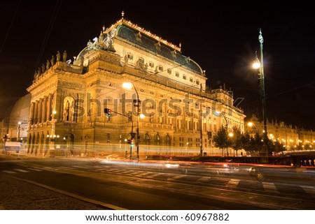 Czech national theater by night - Prague - stock photo