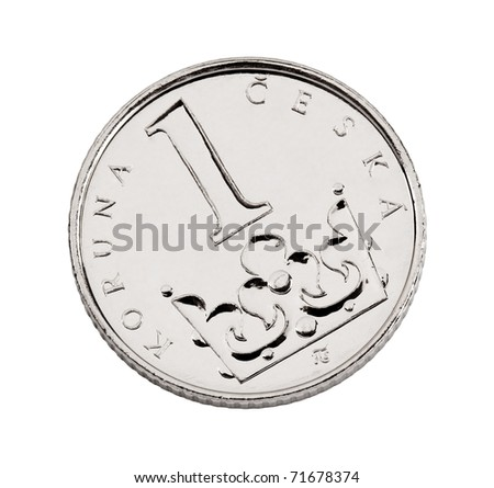 Czech one-crown coin made of nickel-plated steel - stock photo