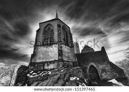 Czech paradise black and white Castle - stock photo