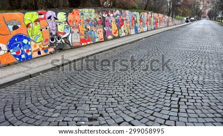 CZECH ,PRAGUE â??MARCH 7: Graffiti wall on March 7 2015 in Prague,Czech Republic. - stock photo
