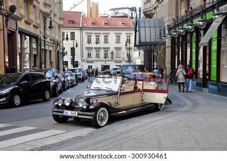 CZECH ,PRAGUE MARCH 7: Retro Car City Prague Tour on March 7 2015 in Prague,Czech Republic. - stock photo
