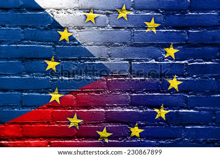 Czech Republic and European Union Flag painted on brick wall - stock photo