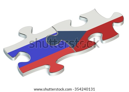 Czech Republic and Russian Federation puzzles from flags