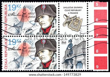 CZECH REPUBLIC - CIRCA 2005: A set of two stamps printed by Czech Republic shows image portrait of Napoleon Bonaparte, circa 2005. - stock photo