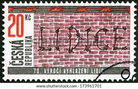 CZECH REPUBLIC - CIRCA 2012: A stamp printed in Czech Republic devoted 70th anniversary of the destruction of Lidice, circa 2012 - stock photo