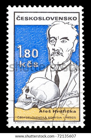 CZECH REPUBLIC - CIRCA 1969: A stamp printed in the Czech Republic features Czech anthropologist Ales Hrdlicka