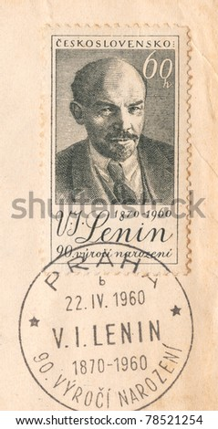 "CZECH REPUBLIC - CIRCA 1960: An old used Czechoslovakian envelope and stamp issued in honor to the 90th anniversary of Vladimir Lenin with inscription ""Lenin 1870 - 1960"", series, circa 1960 - stock photo"