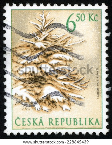 CZECH REPUBLIC - CIRCA 2003: Christmas post stamp printed in Czechoslovakia (Ceska) shows illustration of tree covered with snow; Scott 3227 A1241 6.50k sepia, circa 2003 - stock photo