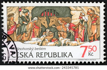 CZECH REPUBLIC - CIRCA 2006: Christmas post stamp printed in Czechoslovakia (Ceska) shows birth of Jesus Christ at Bethlehem; Krusnohorsky betlem; Scott 3326 A1303 7.50k, circa 2006 - stock photo