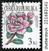 CZECH REPUBLIC - CIRCA 2008: post stamp printed in Czechoslovakia (Ceska) shows illustration of pink azalea (azalka, rhododendron) flower on white; beauty of flowers series; 3k; circa 2008 - stock photo