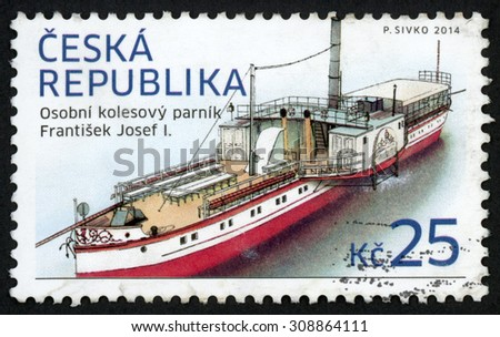 CZECH REPUBLIC - CIRCA 2014: post stamp printed in Czechoslovakia (Ceska) shows passenger (saloon) six paddle steamboat; Franz Joseph I; historical vehicles; 25k, circa 2014 - stock photo