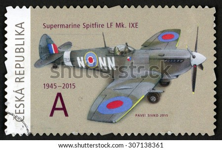 CZECH REPUBLIC - CIRCA 2015: post stamp printed in Czechoslovakia (Ceska) shows supermarine Spitfire LF Mk IXE aircraft; 1945-2015; they brought freedom series; circa 2015 - stock photo