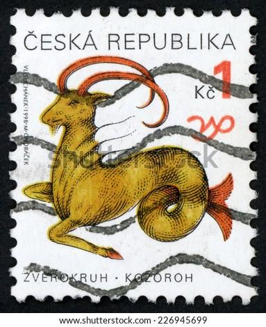 CZECH REPUBLIC � CIRCA 1998: post stamp printed in Czechoslovakia (Ceska) shows zverokruh kozoroh; horoscope sign Capricorn; astrological zodiac symbol; Scott 3063 A1149 1k brown red, circa 1998 - stock photo