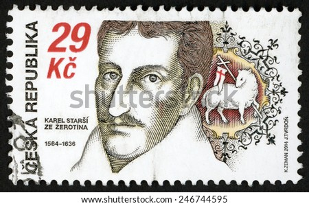 CZECH REPUBLIC - CIRCA 2014: stamp printed in Ceska (Czechoslovakia) shows Karel Starsi ze Zerotina (Elder of Zerotin) (1564-1636) Moravian nobleman, politician, writer, patriot; 29k; circa 2014 - stock photo