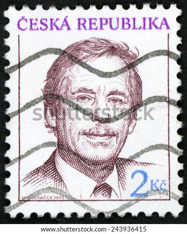 CZECH REPUBLIC - CIRCA 1993: stamp printed in Ceska (Czechoslovakia) shows president Vaclav Havel (playwright, essayist, poet, philosopher, dissident, statesman); Scott 2879 A1000 2k brown; circa 1993 - stock photo