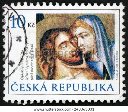 CZECH REPUBLIC - CIRCA 2008: stamp printed in Ceska shows christian art; Virgin Mary cradling dead body of Jesus; celebration of holy days & Easter  Pieta (Lamentation); Scott 3376 10k; circa 2008 - stock photo