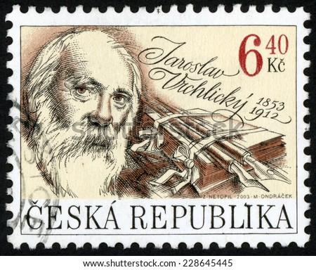 CZECH REPUBLIC - CIRCA 2003: stamp printed in Ceska shows Jaroslav Vrchlicky (1853-1912) professor, poet, play writer, literary critic (Emil Frida); famous men; Scott 3193 6.4k brown, circa 2003 - stock photo
