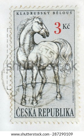 CZECH REPUBLIC - CIRCA 1996:  stamp printed in Czech Republic showing white horse, created  breed in Kladruby stud farm, Czech Republic ; Prague circa 1996 - stock photo