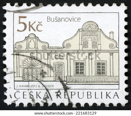CZECH REPUBLIC - CIRCA 2012: stamp printed in Czechoslovakia (Ceska) shows homestead no. 27 of village Busanovice from folk architecture series; house by architect Jacub Bursa; 5k black, circa 2012 - stock photo
