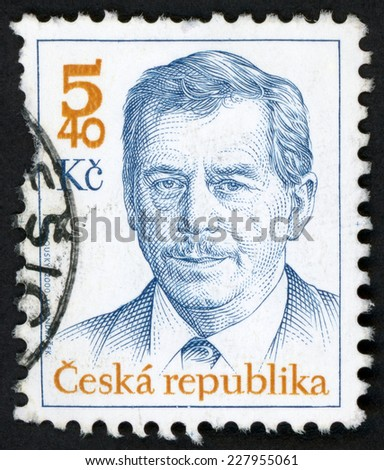 CZECH REPUBLIC - CIRCA 2000: stamp printed in Czechoslovakia (Ceska) shows president Vaclav Havel (playwright, essayist, poet, philosopher, dissident, statesman); Scott 3114 blue 5.40k; circa 2000 - stock photo