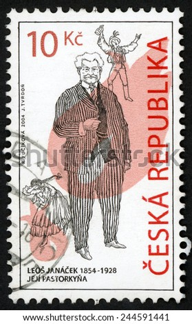 CZECH REPUBLIC - CIRCA 2004: stamp printed in Czechosovakia (Ceska) shows jeji pastorkyna (Jenufa; her stepdaughter) by Leos Janacek (1854-1928); composers of Czech operas; Scott 3240 10k; circa 2004 - stock photo