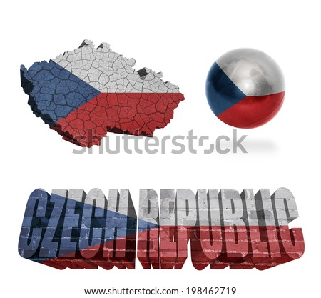 Czech Republic flag and map in different styles in different textures