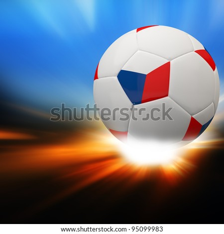 Czech Republic flag on 3d football for Euro 2012 Group A