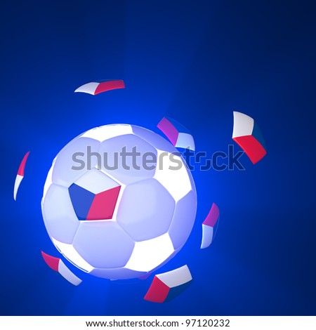 Czech Republic flag on 3d Football for Euro 2012 Group A - stock photo