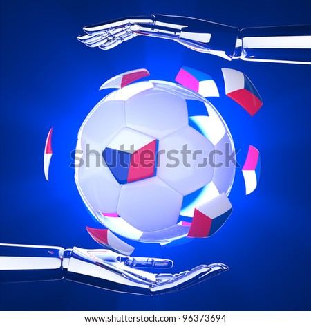 Czech Republic flag on 3d Football on hand for Euro 2012 Group A - stock photo