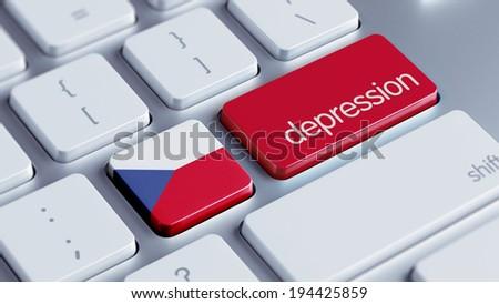 Czech Republic High Resolution Depression Concept - stock photo