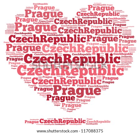 Czech Republic info-text graphics and arrangement concept on white background (word cloud)