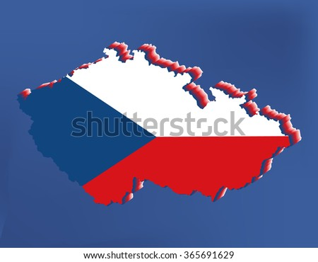 Czech Republic map and flag blue background