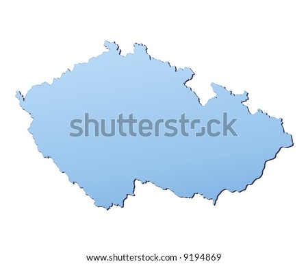 Czech Republic map filled with light blue gradient. High resolution. Mercator projection.