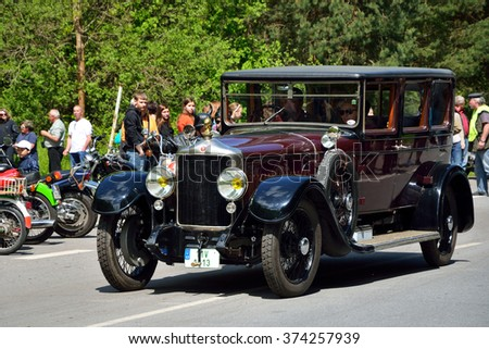 CZECH REPUBLIC - MAY 10: 1925 MINERVA AF in Czech Veteran Rallye. May 10, 2014 in Krivonoska, Czech Republic. - stock photo