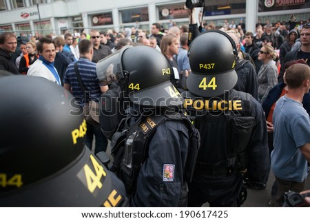 CZECH REPUBLIC: MAY 1, The Workers' Party of Social Justice during a demonstration in Usti nad Labem in the Czech repbublic, May 1, 2014