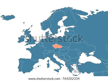 Czech Republic On Europe Map Stock Illustration 764202334 Shutterstock