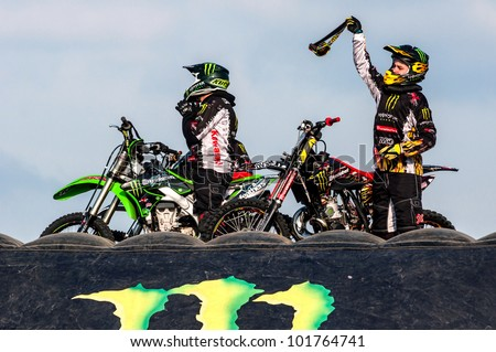 CZECH REPUBLIC, PLZEN - MOTOSHOW FMX Freestyle Borska pole - April 14 2012: Freestyle motocross - greeting from riders during the motoshow on April 14, 2012 in Pilsen - Borska pole, Czech Republic - stock photo