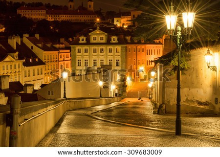 Czech Republic, Prague. 20 August 2015. The street in Prague, in the light of lanterns. The capital of the Czech Republic; the administrative center of the Central Bohemia Region. - stock photo