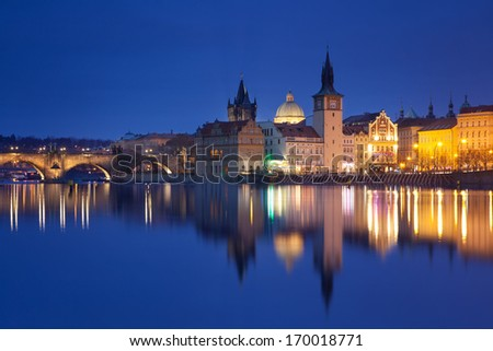 Czech Republic - Prague -  Charles Bridge and Lavka - stock photo