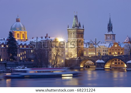 czech republic prague - charles bridge and spires of the old town at dusk - stock photo